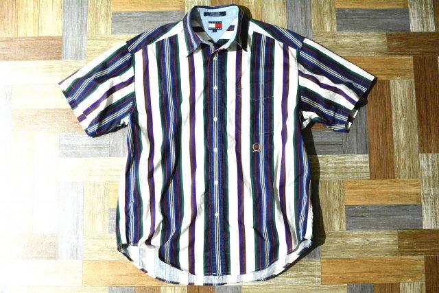 90's Vintage TOMMY HILFIGER マルチストライプ 半袖 シャツ (メンズ古着)