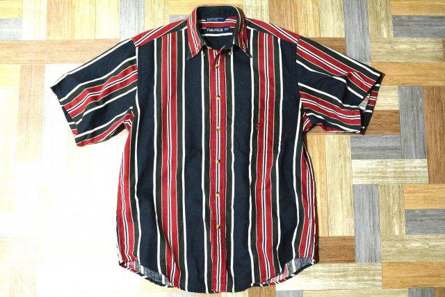 90's Vintage nautica ストライプ 半袖 シャツ (メンズ古着)