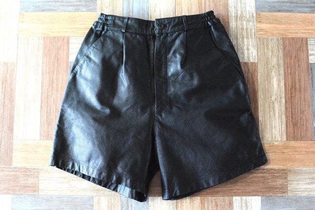 Vintage CLEF レザー ショーツ ブラック (レディース古着)