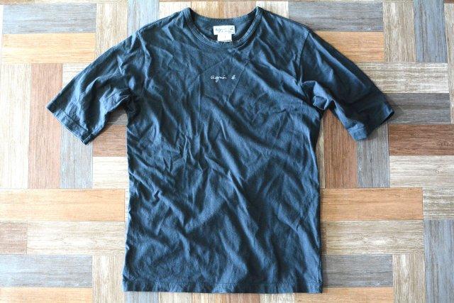90's Vintage agnes b. ロゴ Tシャツ ネイビー (メンズ古着)