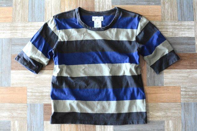 90's Vintage agnes b. ボーダー Tシャツ ネイビー×ブルー×カーキ (レディース古着)