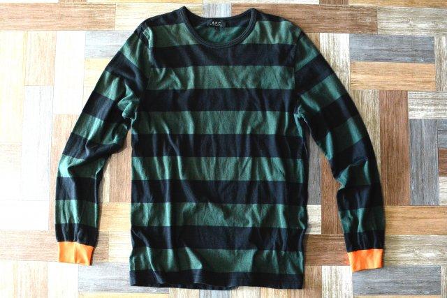 90's Vintage A.P.C. フランス製 ボーダー 長袖 Tシャツ ブラック×グリーン (メンズ古着)
