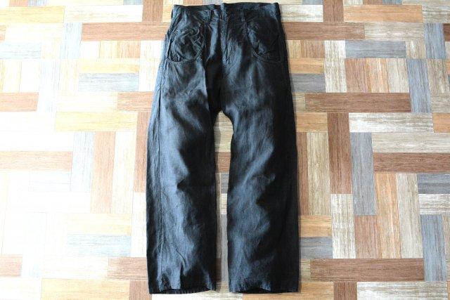 Y's YOHJI YAMAMOTO シンチバック付き リネン パンツ ブラック (レディース古着)