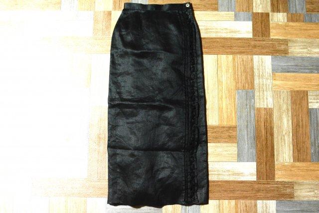 90's Vintage HIROKO KOSHINO リネン ロング ラップ スカート ブラック DEAD STOCK (レディース古着)