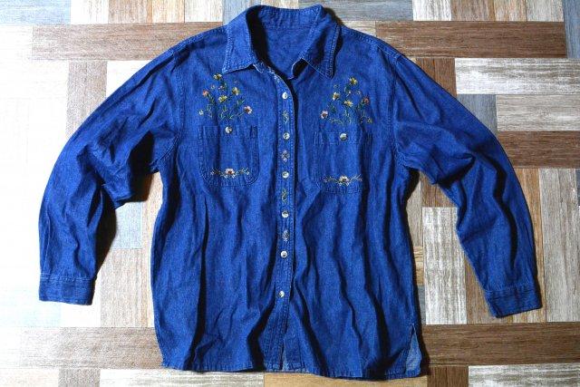 Vintage フラワー 刺繍 デニム シャツ (レディース古着)