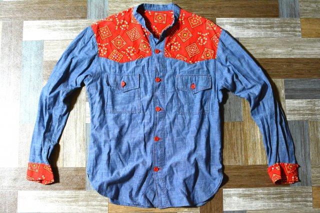 Vintage 切り替え ウェスタン バンドカラー シャツ (メンズ古着)