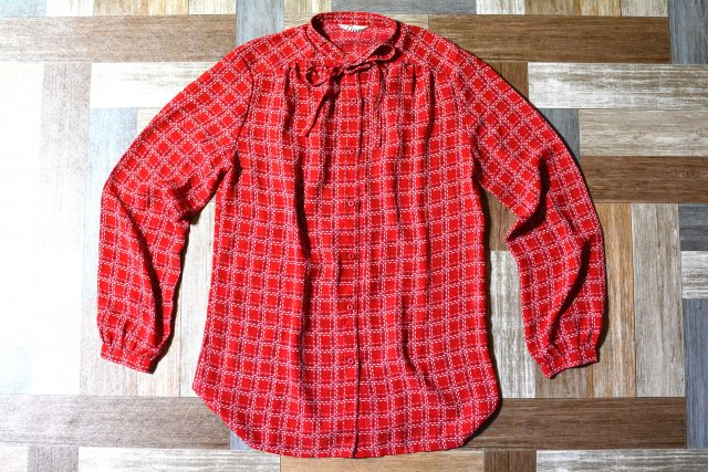 Vintage リボン付き チェック ブラウス レッド (レディース古着)