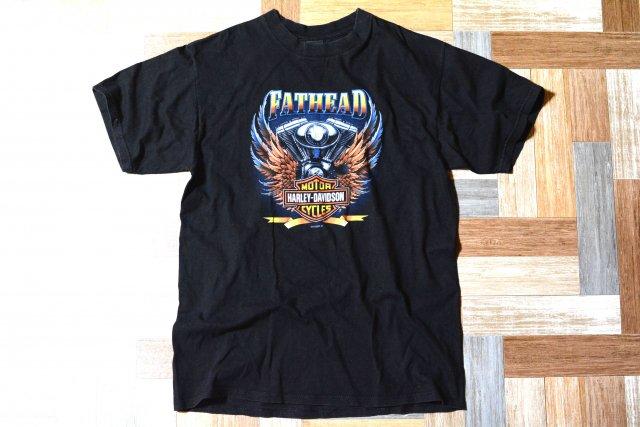 90's Vintage HARLEY DAVIDSON USA製 フェザー プリント Tシャツ ブラック (メンズ古着)