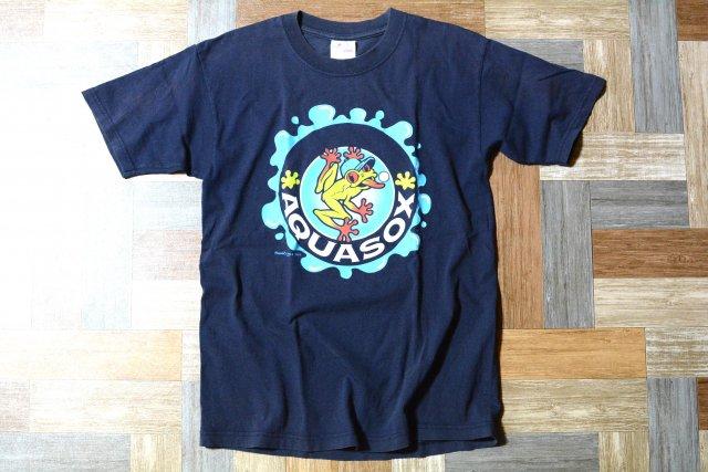 majestic AQUASOX フロッグ プリント Tシャツ ネイビー (メンズ古着)