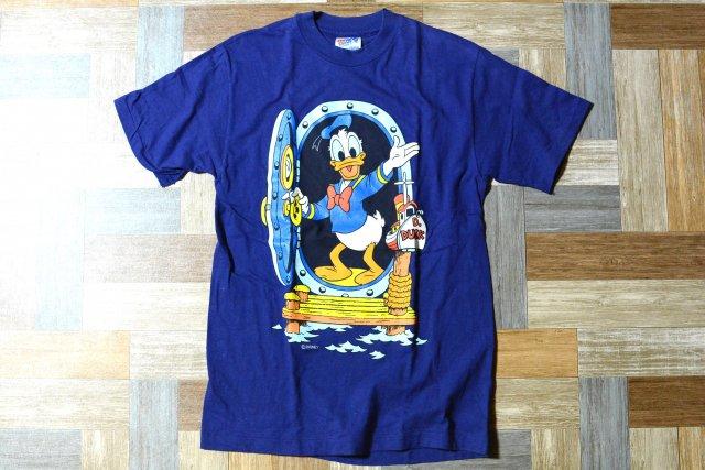 90's Vintage Hanes USA製 ドナルドダック プリント Tシャツ ネイビー (メンズ古着)