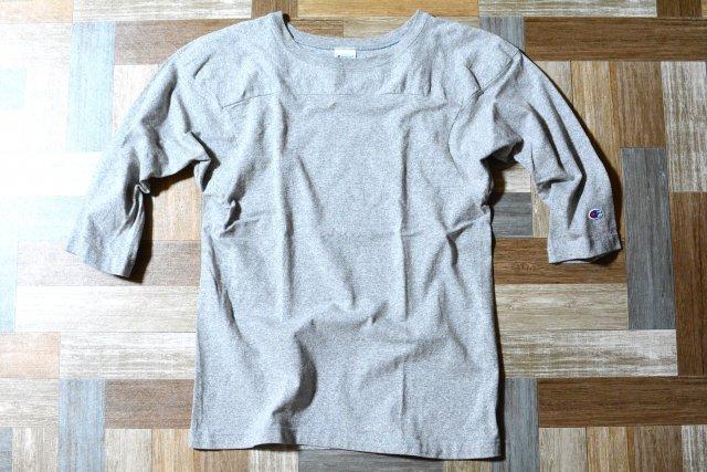 Champion USA製 ヘビーウェイト 七分袖 フットボール Tシャツ 杢グレー (メンズ古着)