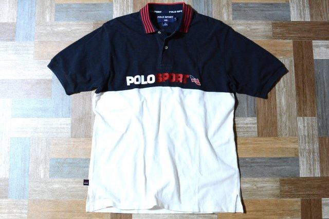90's Vintage POLO SPORT RALPH LAUREN ロゴ 刺繍 バイカラー ポロシャツ ネイビー×ホワイト (メンズ古着)