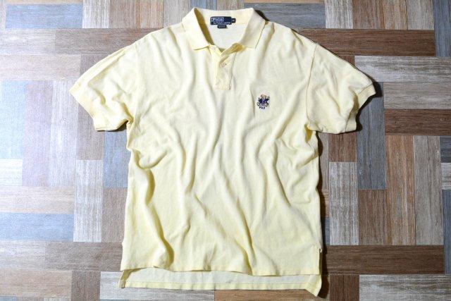 90's Vintage POLO RALPH LAUREN USA製 ポロベアー 刺繍 ポロシャツ ライトイエロー (メンズ古着)