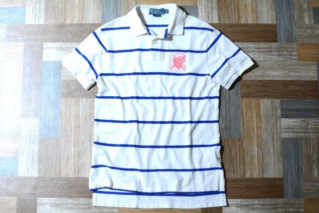 POLO RALPH LAUREN ボーダー ロゴ ポロシャツ ホワイト×ブルー (メンズ古着)