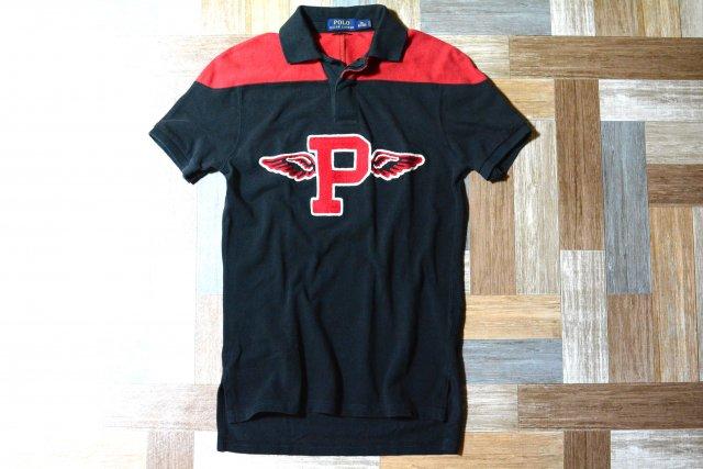 POLO RALPH LAUREN Pロゴ バイカラー ポロシャツ ブラック×レッド (メンズ古着)