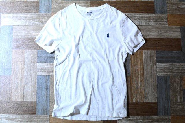 POLO RALPH LAUREN ワンポイント ロゴ Tシャツ ホワイト×ネイビー (メンズ古着)
