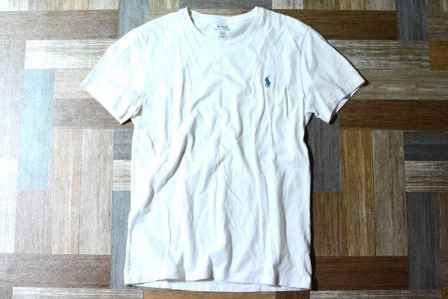 POLO RALPH LAUREN ワンポイント ロゴ Tシャツ ホワイト×サックスブルー (メンズ古着)