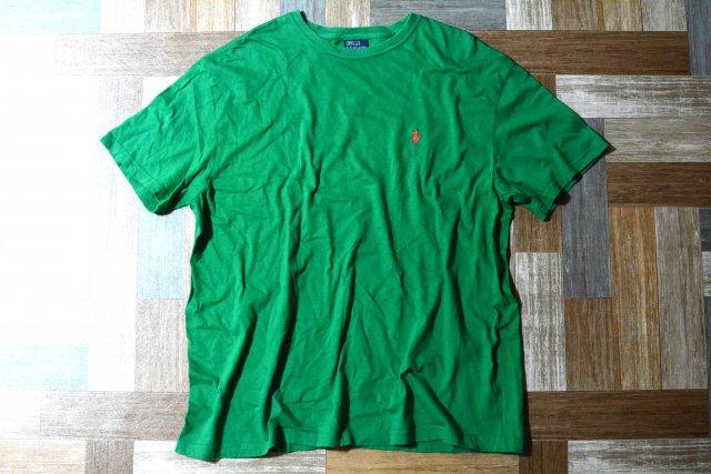 90's Vintage POLO RALPH LAUREN ワンポイント ロゴ Tシャツ グリーン×レッド (メンズ古着)