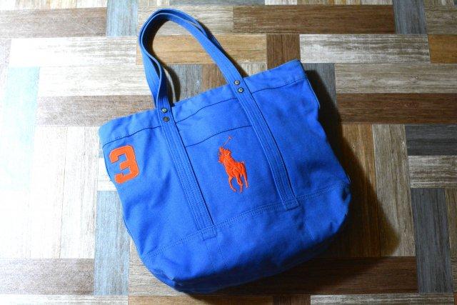 POLO RALPH LAUREN ビッグポニー トートバッグ ブルー×オレンジ (USED&VINTAGE)