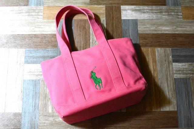RALPH LAUREN ビッグポニー トートバッグ ピンク×グリーン (USED&VINTAGE)