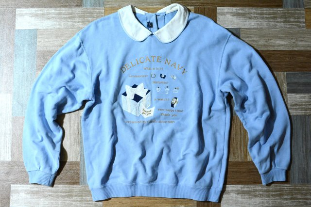 Vintage 襟付き スウェット サックスブルー (レディース古着)