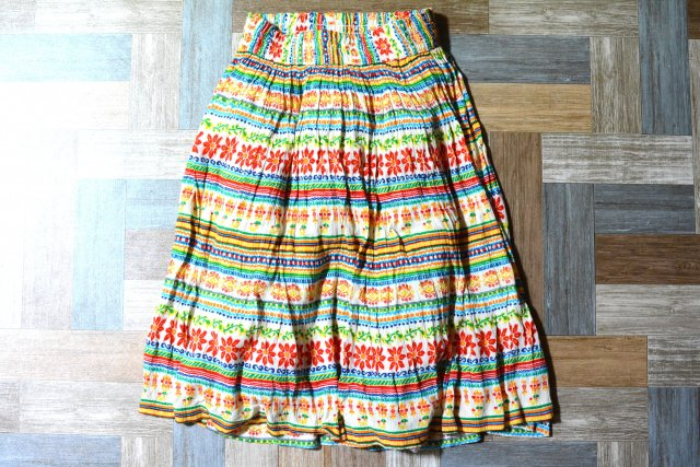 Vintage 総柄 プリーツ スカート (レディース古着)