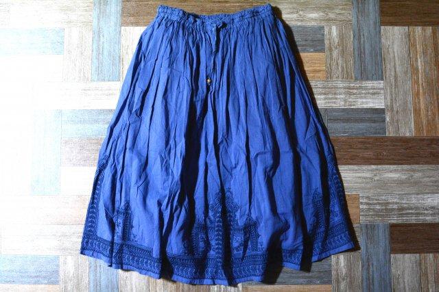 エスニック 刺繍 イージー スカート ネイビー (レディース古着)