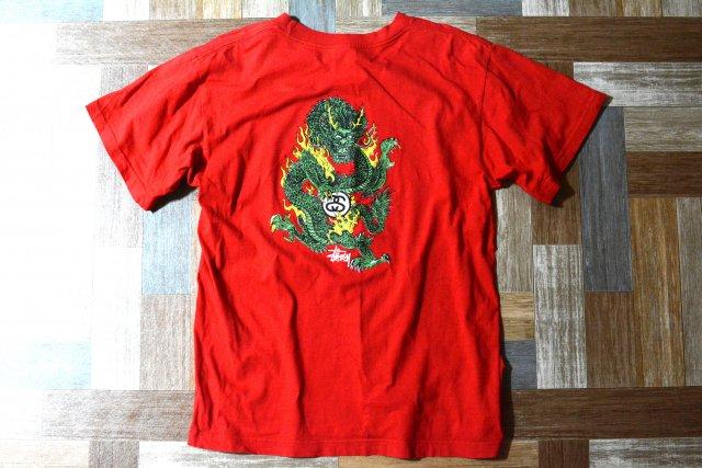 90's Vintage STUSSY USA製 ドラゴン Tシャツ レッド (メンズ古着)