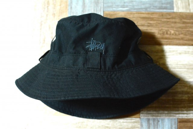 90's Vintage STUSSY ロゴ バケットハット ブラック (USED&VINTAGE)
