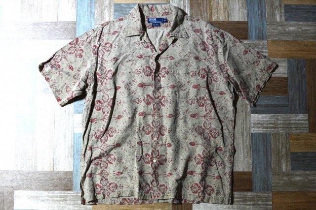 90's Vintage POLO RALPH LAUREN アロハ シャツ サンドベージュ (メンズ古着)