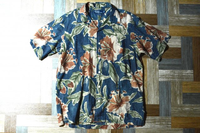 90's Vintage POLO RALPH LAUREN アロハ シャツ VINTAGE CAMP ネイビー Mサイズ (メンズ古着)