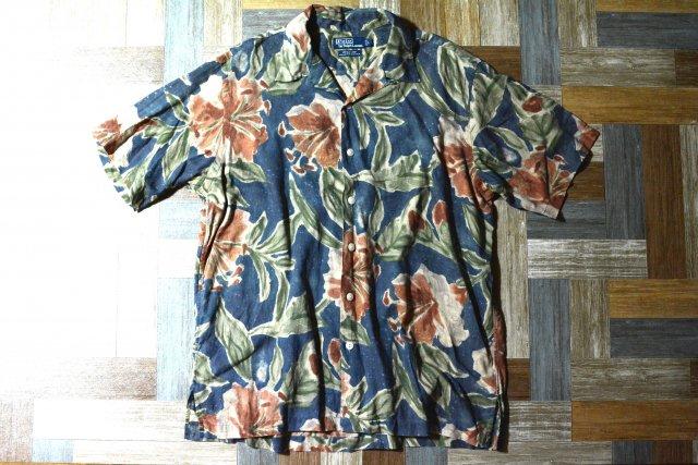 90's Vintage POLO RALPH LAUREN アロハ シャツ VINTAGE CAMP ネイビー Lサイズ (メンズ古着)