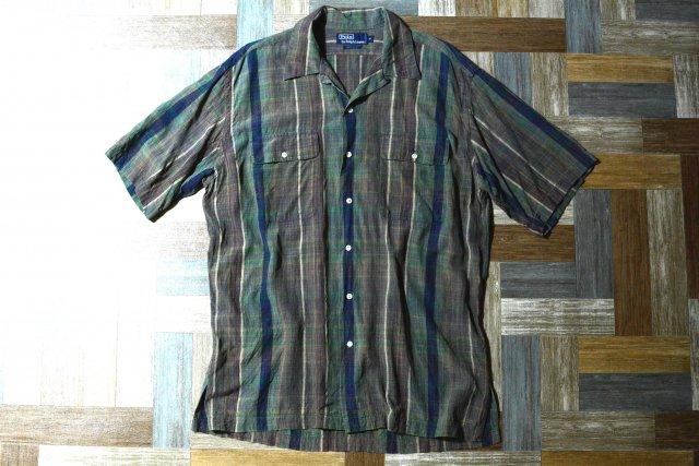 90's Vintage POLO RALPH LAUREN シルク チェック柄 半袖 開襟 シャツ (メンズ古着)
