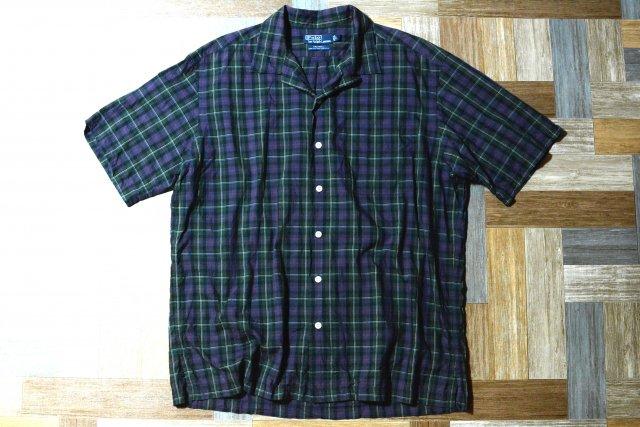 90's Vintage POLO RALPH LAUREN タータンチェック 半袖 開襟 シャツ   CALDWELL (メンズ古着)