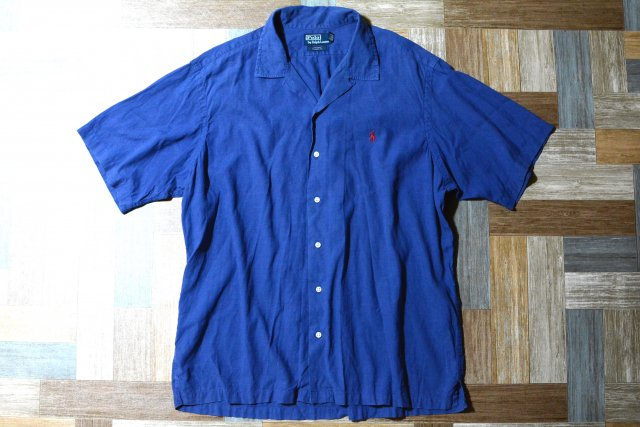 90's Vintage POLO RALPH LAUREN 半袖 開襟 シャツ CURHAM ネイビー (メンズ古着)