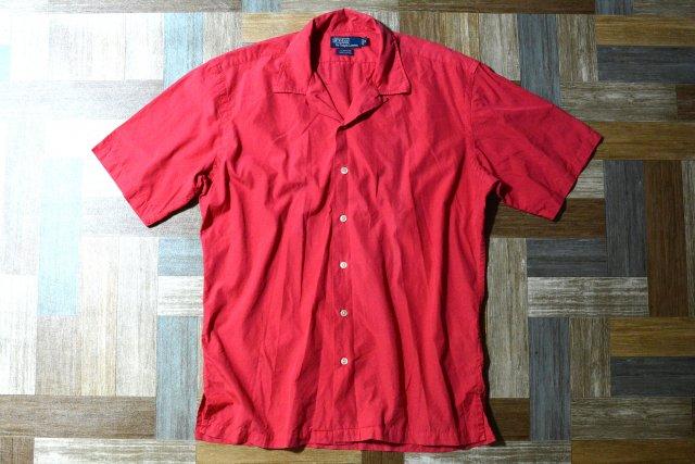 90's Vintage POLO RALPH LAUREN 半袖 開襟 シャツ CLAYTON レッド (メンズ古着)