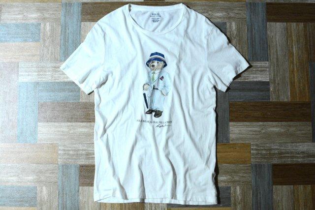 POLO RALPH LAUREN ポロベアー プリント Tシャツ ホワイト (メンズ古着)