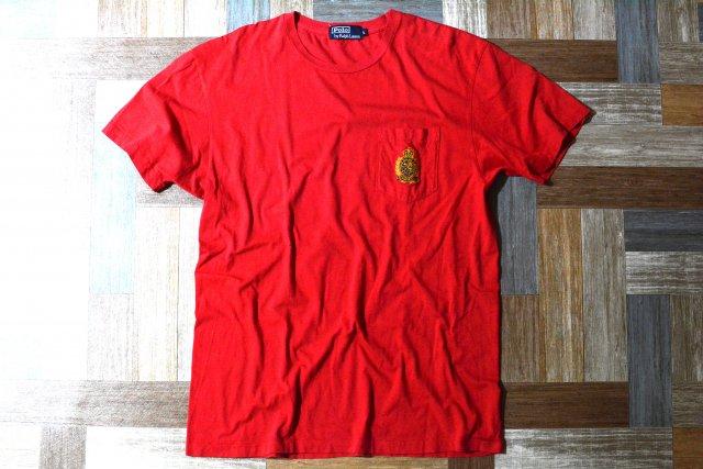 90's Vintage POLO RALPH LAUREN エンブレム 刺繍 ポケット付き Tシャツ レッド (メンズ古着)