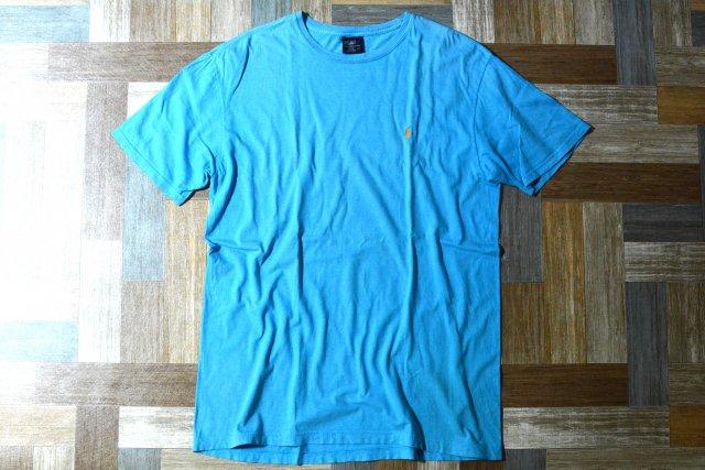 90's Vintage POLO RALPH LAUREN ワンポイント ロゴ Tシャツ ターコイズブルー (メンズ古着)