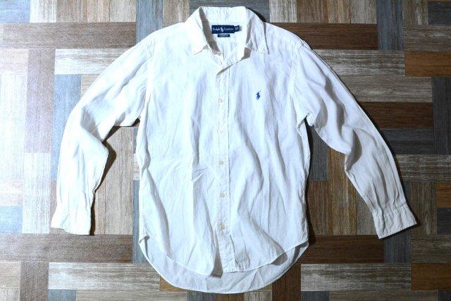 POLO RALPH LAUREN コットン × リネン BD シャツ ホワイト (メンズ古着)