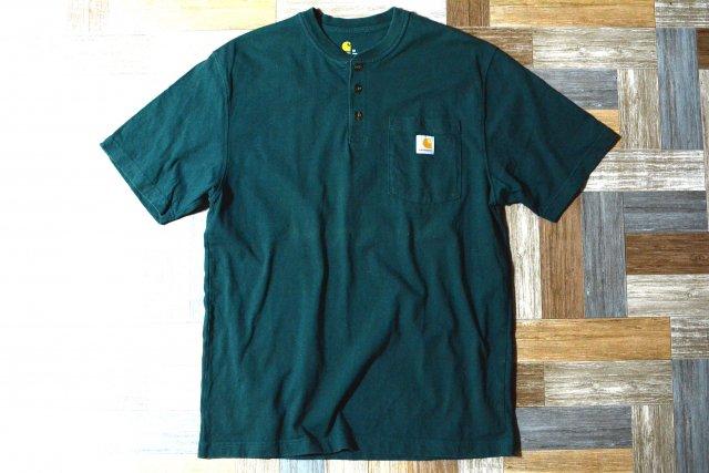 carhartt ヘビーウェイト ヘンリーネック ポケット Tシャツ モスグリーン Mサイズ (メンズ古着)