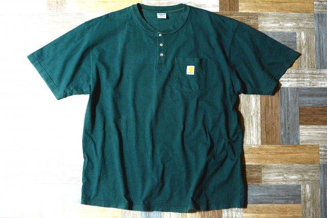 carhartt ヘビーウェイト ヘンリーネック ポケット Tシャツ モスグリーン XLサイズ (メンズ古着)
