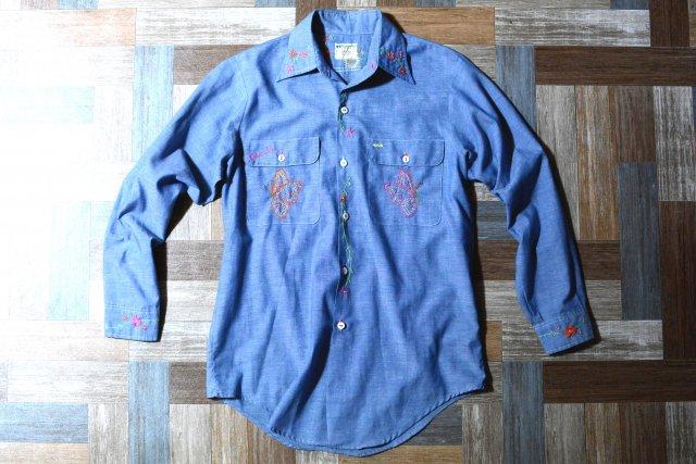 70's Vintage MW JC Penney フラワーステッチ リメイク シャンブレー シャツ (メンズ古着)