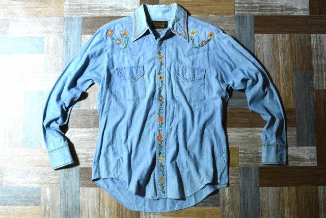90's Vintage BIG YANK フラワーステッチ リメイク デニム ウェスタン シャツ (メンズ古着)