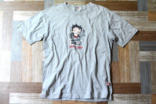 90's Vintage ベティ ブープ バイカー Tシャツ 杢グレー (メンズ古着)