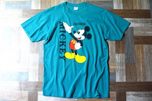 90's Vintage Velva Sheen USA製 ディズニー ミッキー マウス Tシャツ ブルーグリーン (メンズ古着)