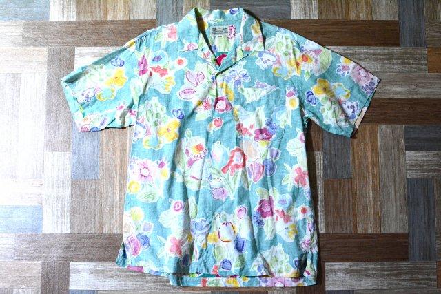 90's Vintage Wrangler コットン アロハ シャツ ライトグリーン (メンズ古着)