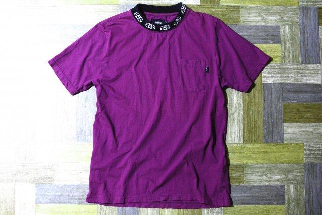 STUSSY ロゴ モックネック Tシャツ パープル (メンズ古着)