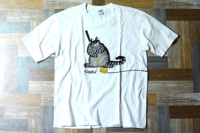 <img class='new_mark_img1' src='https://img.shop-pro.jp/img/new/icons13.gif' style='border:none;display:inline;margin:0px;padding:0px;width:auto;' />90's Vintage crazy shirts USA製 クリバンキャット Tシャツ ホワイト (メンズ古着)