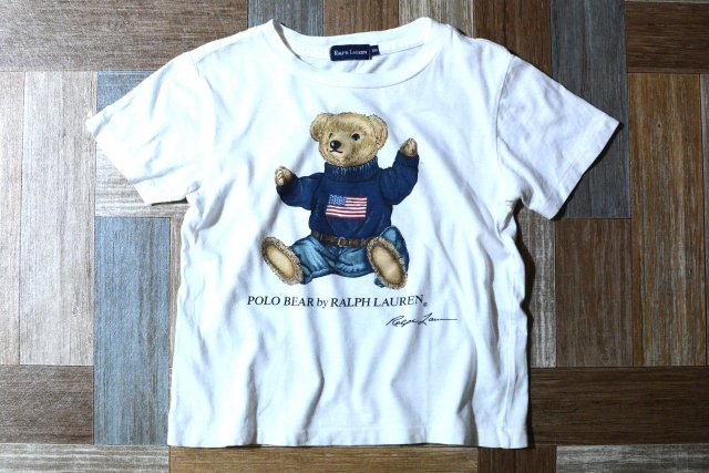 <img class='new_mark_img1' src='https://img.shop-pro.jp/img/new/icons6.gif' style='border:none;display:inline;margin:0px;padding:0px;width:auto;' />RALPH LAUREN ポロベアー Tシャツ ホワイト 100サイズ (キッズ古着)